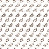 Bakkerij naadloos patroon die uit de stijl van de croissantlijn bestaan Stock Foto's