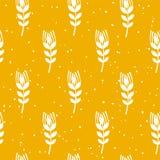 Bakkerij naadloos patroon met tarwe op gele achtergrond Ornament voor textiel en het verpakken Vector vector illustratie