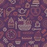 Bakkerij naadloos patroon, voedsel vectorachtergrond van beige kleur De banketbakkerijproducten verdunnen lijnpictogrammen - koek stock illustratie