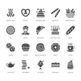 Bakkerij, pictogrammen van banketbakkerij de vlakke glyph De zoete winkelproducten koeken, croissant, muffin, gebakje cupcake, pa stock illustratie