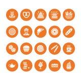 Bakkerij, pictogrammen van banketbakkerij de vlakke glyph De zoete winkelproducten koeken, croissant, muffin, gebakje cupcake, pa vector illustratie