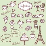 Bakkerij, van Coffe en van Parijs symbolen Stock Afbeeldingen