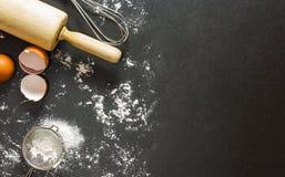 Bakkerijachtergrond, het bakken ingrediënten Royalty-vrije Stock Foto