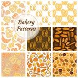 Bakkerijbrood en korrel naadloos patroon Stock Afbeeldingen