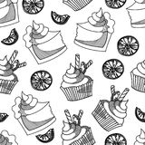 Bakkerijcake en cupcake sinaasappel in zwart-wit naadloos patroon stock illustratie