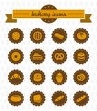 Bakkerijpictogrammen. illustratiesinzameling. Stock Afbeelding