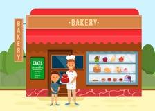 Bakkerijwinkel met Chef-kok Giving Cake aan Jongensbanner vector illustratie