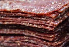 Bakkwa. Sliced Pork Jerky also known as Bakkwa in the Hokkien (Chinese) Language Royalty Free Stock Images