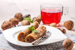 Baklava με τα καρύδια και το μέλι Στοκ Φωτογραφίες
