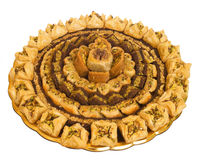 The baklava. (a dessert made of thin pastry, nuts, and honey Royalty Free Stock Photography