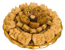 The baklava. (a dessert made of thin pastry, nuts, and honey Royalty Free Stock Image