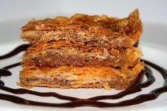 Baklava. Close up of a baklava on a plate Stock Photos