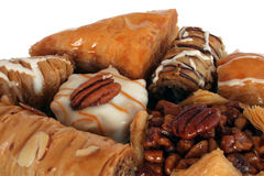 Baklava. Various forms of baklava, intended to run along bottom of page. Isolated for easy design use stock photography
