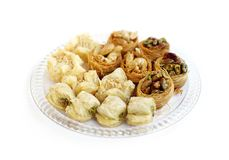 Baklava, a arabic sweets, focus a row behind Royalty Free Stock Photos