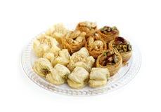 Baklava, a arabic sweets, focus a row behind Royalty Free Stock Photos