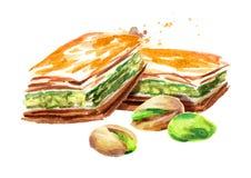 Baklava avec des pistaches Illustration tirée par la main d'aquarelle, d'isolement sur le fond blanc Photo stock