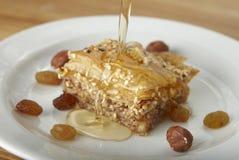 Baklava avec du miel Photo stock
