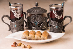 Baklava and black tea. Picture of baklava and black tea stock photography