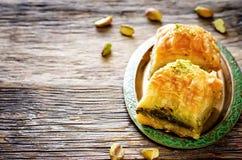 Baklava con il pistacchio Delizia tradizionale turca immagini stock libere da diritti