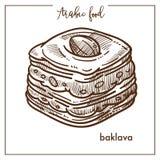 Baklava délicieuse de la pâte feuilletée de la nourriture arabe Photographie stock libre de droits