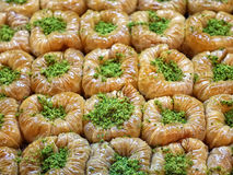 Baklava decorated pistachios and honey, Jewish, turkish, arabic. Traditional national sweet desserts Royalty Free Stock Image