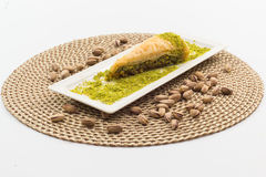 Baklava. Delicious Turkish baklava with fresh pistachioeuropean cafe arab eat syrup baklawa sugar diet famous arabian middle sweet arabic eastern culture phylo Royalty Free Stock Photo