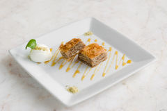 Baklava Dessert with ice-cream Royalty Free Stock Image