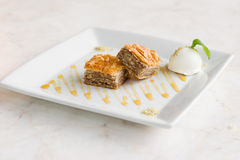 Baklava Dessert with ice-cream Royalty Free Stock Photography