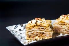 Baklava dessert slices on dark background Royalty Free Stock Photo