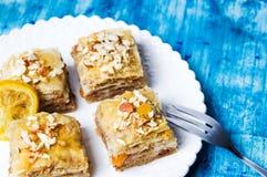Baklava dessert slices on a plate Stock Photos