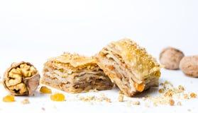 Baklava dessert slices on white background Royalty Free Stock Photo