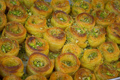 Baklava. Eastern sweets on the market. Top view. Close-up Royalty Free Stock Photography