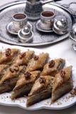 Baklava et café de village Photo stock
