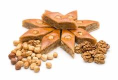 Baklava et noix Image libre de droits