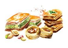 Baklava et noix Illustration tirée par la main d'aquarelle, d'isolement sur le fond blanc Images libres de droits