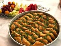 Baklava and Fruits.Turkish important dessert. stock image