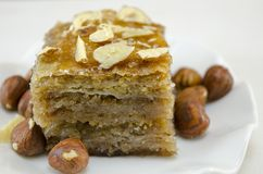 Baklava with hazelnuts on a plate Stock Photos