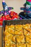 Baklava hecho en casa de la nuez Fotos de archivo