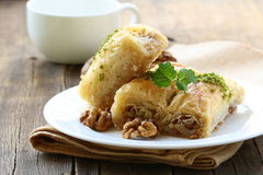 Baklava with honey and nuts Stock Photos