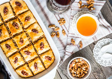 Baklava with honey and nuts, rustic, traditional Turkish dessert Stock Photos