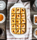 Baklava with honey and nuts, rustic, traditional Turkish dessert Royalty Free Stock Photos
