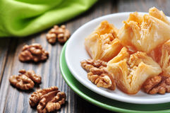 Baklava with honey and nuts Royalty Free Stock Photos