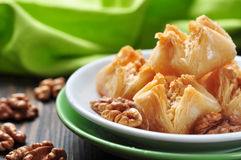 Baklava with honey and nuts royalty free stock images