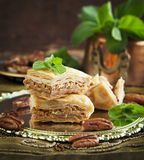 Baklava with honey and nuts. Royalty Free Stock Image