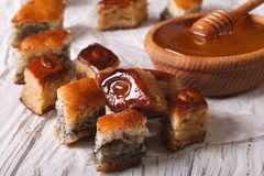 Baklava Honey with poppy seeds and nuts close-up. horizontal Stock Images