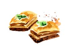 baklava Illustration tirée par la main d'aquarelle, d'isolement sur le fond blanc illustration de vecteur
