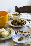 Baklava. Ingredients for homemade baklava on vintage table Royalty Free Stock Photo