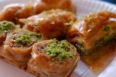 Baklava. Many baklava in a dish royalty free stock photography