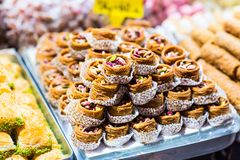 Baklava on a market in Istanbul Stock Photos