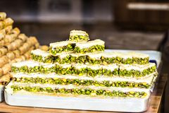Baklava on a market in Istanbul Stock Photos